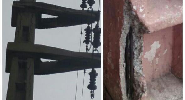 خطير بالصور…عمود كهربائي متهالك وبه شقوق خطيرة مهدد بالسقوط في شارع يعج بالمواطنين