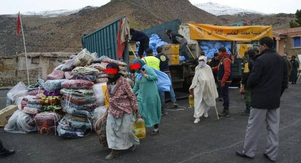 قافلة محمد الخامس تستمر في توزيع المساعدات بأعالي جبال أزيلال و تحط الرحال في مرحلتها الرابعة بجماعة أنركي