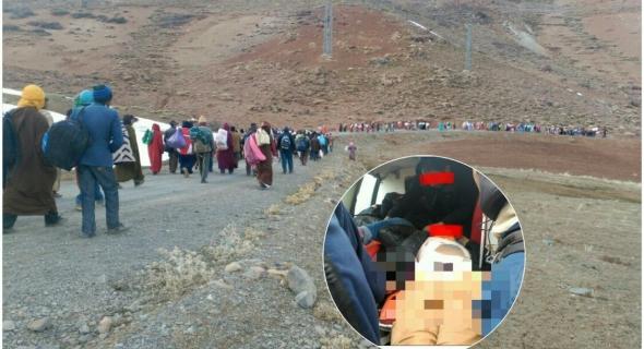 عاجل بالصور… مسيرة 100 كلم مشيا على الأقدام مستمرة من جبال انركي الى ولاية بني ملال وتسجيل 3 اغماءات بين النساء