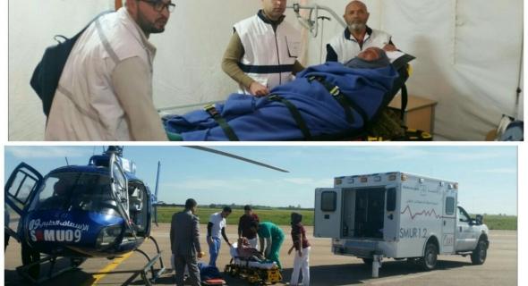 المروحية الطبية لوزارة الصحة  تنقل امراة تعاني مضاعفات أزمة تنفسية حادة من مستشفى القباب إلى الدار البيضاء