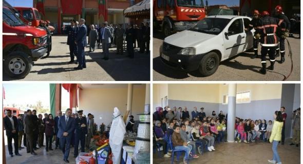 عامل إقليم أزيلال و الوفد المرافق له يشاركون الوقاية المدنية احتفالاتها باليوم العالمي للقطاع