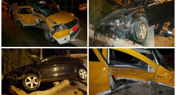 صور الحادثة المميتة التي ذهب ضحيتها سائق طكسي صغير ببني ملال ونقل مصابين للمستعجلات وصدمة في صفوف المهنيين