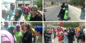 البرلمانية وحساة تمتص غضب نسوة محتجات ضد العطش بجبال ناوور  وتحاورهن بالعناق واللسان الأمازيغي ووالي الجهة يتدخل