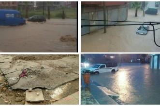 """بالفيديو… أمطار طوفانية تغرق قصبة تادلة وتحرج المسؤولين ونشطاء الفيسبوك يسخرون ويستقبلون الفيضان ب""""زغاريد""""!"""