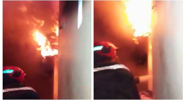 بالفيديو… شاهد لحظات تدخل بطولي لرجال الوقاية المدنية ببني ملال لاخماذ حريق داخل منزل