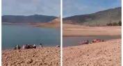 عاجل وبالفيديو… لحظات محزنة لزوجة الغريق الثلاثيني وأسرته وهم يرابطون ببحيرة بين الويدان وينتظرون استخراج الجثة