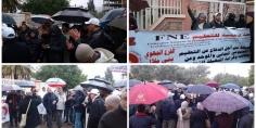 سوء التَّدبير والمُحاكمات تُخرج نساء ورجال التعليم للإحتجاج تحت الأمطار أمام أكاديمية بني ملال -صور-
