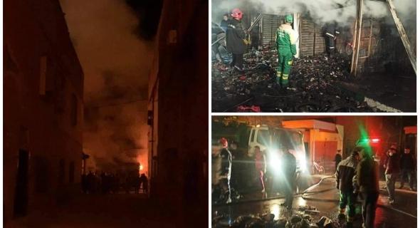 ياربي السلامة… حريق مهول بقصبة تادلة يجهز على محل تجاري ومحل لبيع أجزاء الدراجات والوقاية تجنب كارثة -صور-