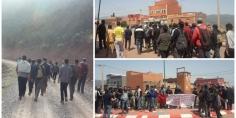 بالصور…محتجون بأسكار بجبال تاكلفت يخرجون في مسيرة احتجاجية مشيا على الأقدام ومطالبهم اجتماعية