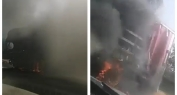 بالفيديو…. النيران تلتهم بالكامل شاحنة لشركة مشروبات بطريق تادلة ونجاة السائق بأعجوبة