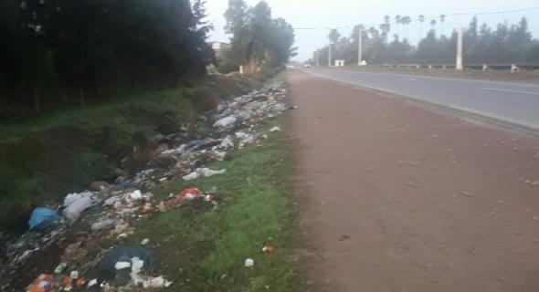 روائح تزكم النفوس و تشوه الطريق الوطنية رقم 8 على مستوى الكرازة و النفايات نهارا جهارا