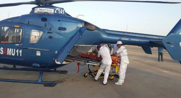 مروحية SAMU تقل مريضا بضيق التنفس من جبال زركان إلى المستشفى الجهوي ببني ملال