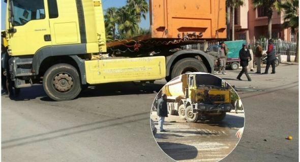 عوتاني… اصطدام عنيف بين رموك وشاحنة كبيرة بأولاد يعيش -الصورة-
