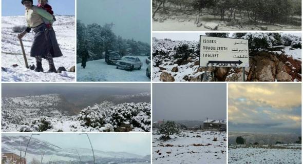 فرحة الثلوج ماتنسيناش خوتنا فالجبال…  تساقط الثلوج بشكل غير مسبوق بالجهة وتوقف حركة المرور ومعاناة إخواننا في أعالي الجبال -الصور-