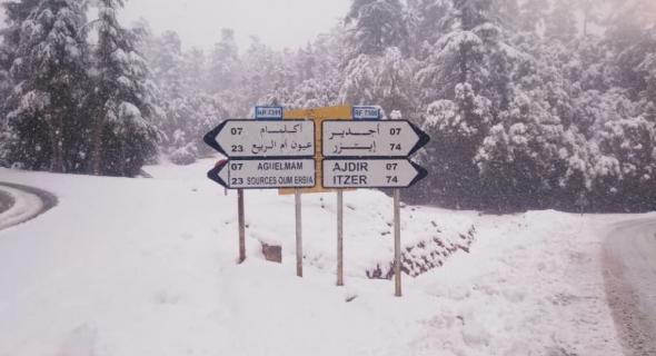 استمرار تساقط الثلوج وانخفاض شديد للحرارة وهذه مقاييسها العليا والدنيا =نشرة جوية=