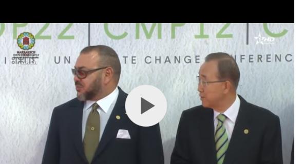 """بالفيديو..موقف محرج ل""""بان كيمون"""" أمام الملك محمد السادس ومزوار"""