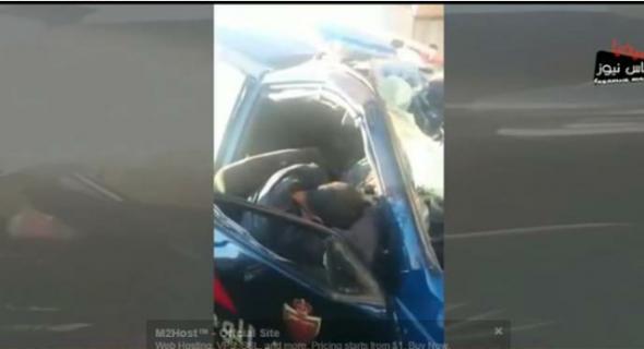 فيديو صادم +18…  لحظة وقوع حادثة السير التي توفي فيها أربع أمنيين واخراج الضحايا من السيارة