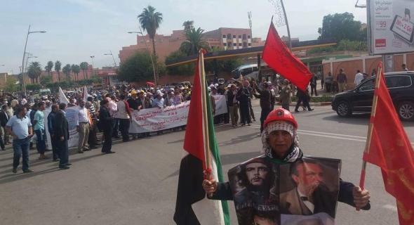 مسيرة الشغيلة التعليمية تقصف الأكاديمية ومديرية التعليم ببني ملال وتنتقذ الدخول المدرسي الكارثي