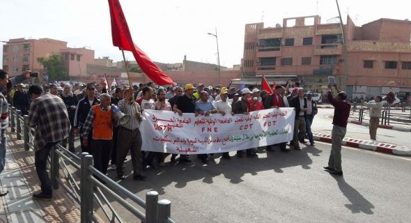 بالصور..الشغيلة التعليمية تخرج الى الميدان بشوارع بني ملال وتحتج على تخريب التعليم العمومي