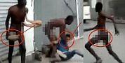 بالفيديو +18..مهاجر افريقي يتجرد من ملابسه كما ولدته أمه ويعتدي على شاب حاول مساعدته